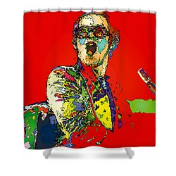 Elton In Red Shower Curtain by John Farr