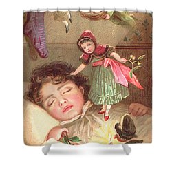 Elves Delivering Christmas Gifts Shower Curtain by English School