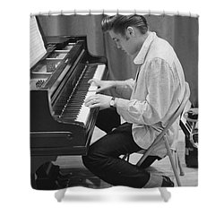 Elvis Presley On Piano While Waiting For A Show To Start 1956 Shower Curtain by The Phillip Harrington Collection