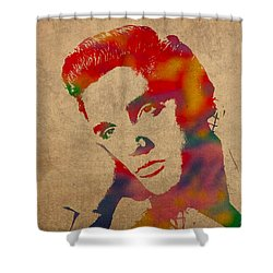 Elvis Presley Watercolor Portrait On Worn Distressed Canvas Shower Curtain by Design Turnpike