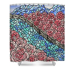 Emerald River Roses Shower Curtain by Barbara St Jean