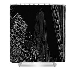 Empire Nyc White On Black Shower Curtain by Meandering Photography