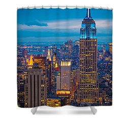 Empire State Blue Night Shower Curtain by Inge Johnsson