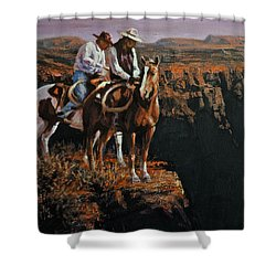 End Of The Trail Shower Curtain by Mia DeLode