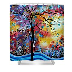 Enormous Whimsical Cityscape Tree Bird Painting Original Landscape Art Worlds Away By Madart Shower Curtain by Megan Duncanson