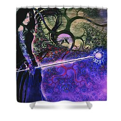 Entering In The Spirit Of The Night Shower Curtain by Linda Sannuti