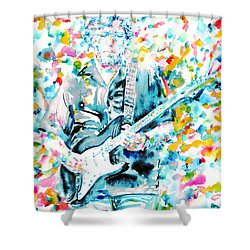 Eric Clapton - Watercolor Portrait Shower Curtain by Fabrizio Cassetta