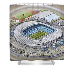 Etihad Stadium - Manchester City Shower Curtain by D J Rogers