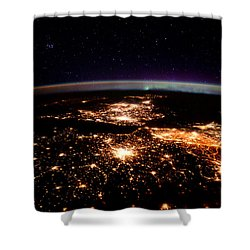Shower Curtain featuring the photograph Europe At Night, Satellite View by Science Source