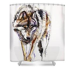 European Wolf Shower Curtain by Mark Adlington