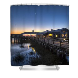 Evening Sky At The Dock Shower Curtain by Debra and Dave Vanderlaan
