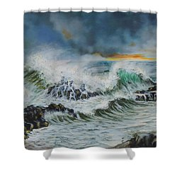 Evening Surf At Castlerock Shower Curtain by Barry Williamson