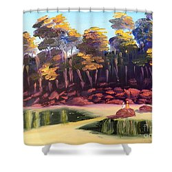 Exploring On Echo Beach Shower Curtain by Pamela  Meredith
