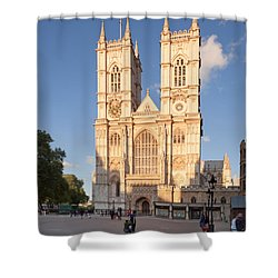 Facade Of A Cathedral, Westminster Shower Curtain by Panoramic Images