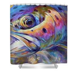Face Of A Rainbow- Rainbow Trout Portrait Shower Curtain by Savlen Art