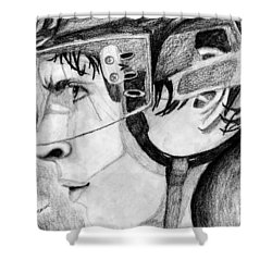 Faceoff Focus Shower Curtain by Kayleigh Semeniuk