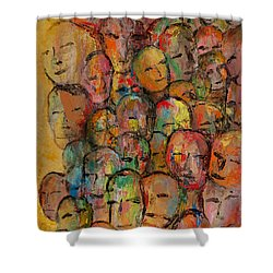 Faces In The Crowd Shower Curtain by Larry Martin