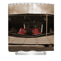 Fairground Waltzer In Sepia Shower Curtain by Terri Waters