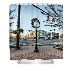 Fairhope Clock And 4 Corners Shower Curtain by Michael Thomas
