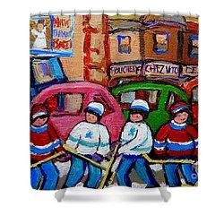 Fairmount Bagel Street Hockey Game Shower Curtain by Carole Spandau