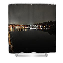 Fairmount Dam And Boathouse Row In The Evening Shower Curtain by Bill Cannon