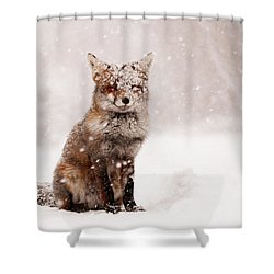 Fairytale Fox _ Red Fox In A Snow Storm Shower Curtain by Roeselien Raimond