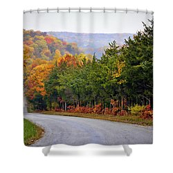 Fall On Fox Hollow Road Shower Curtain by Cricket Hackmann