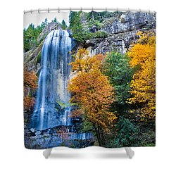Fall Silver Falls Shower Curtain by Robert Bynum