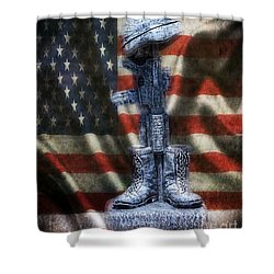 Fallen Soldiers Memorial Shower Curtain by Peggy  Franz