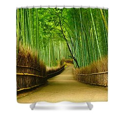 Famous Bamboo Grove At Arashiyama Shower Curtain by Lanjee Chee