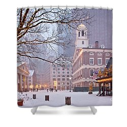 Faneuil Hall In Snow Shower Curtain by Susan Cole Kelly
