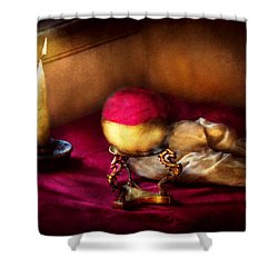 Fantasy - The Crystal Ball Shower Curtain by Mike Savad