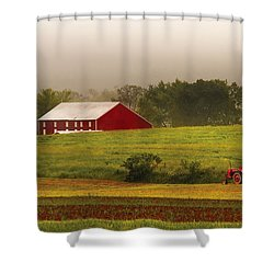 Farm - Farmer - Tilling The Fields Shower Curtain by Mike Savad