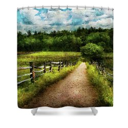 Farm - Fence - Every Journey Starts With A Path  Shower Curtain by Mike Savad