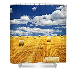 Farm Field With Hay Bales In Saskatchewan Shower Curtain by Elena Elisseeva