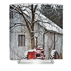 Farmall Tractor In Winter Shower Curtain by Timothy Flanigan