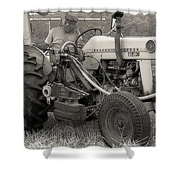 Farmer And His Tractor Shower Curtain by Kathleen Struckle