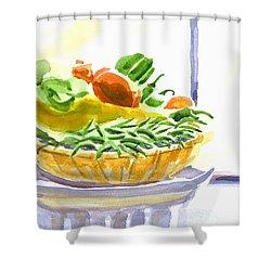 Farmers Market V Summers Harvest In The Window Shower Curtain by Kip DeVore