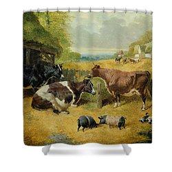 Farmyard Scene Shower Curtain by John Frederick Herring Snr