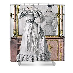 Fashion Plate Of A Lady In Evening Shower Curtain by English School