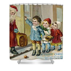 Father Christmas Disembarking Train Shower Curtain by Mary Evans