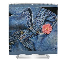 Favorite Jeans Shower Curtain by Pamela Clements