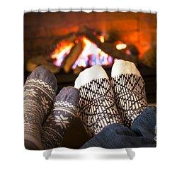Feet Warming By Fireplace Shower Curtain by Elena Elisseeva