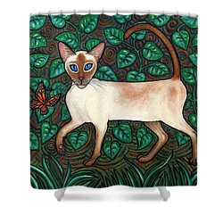 Felina And The Monarch Shower Curtain by Linda Mears