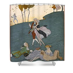Fetes Galantes Shower Curtain by Georges Barbier