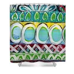 Fiesta - Colorful Painting Shower Curtain by Linda Woods