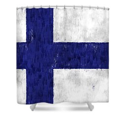Finland Flag Shower Curtain by World Art Prints And Designs