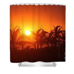Fire Ball Sunset Shower Curtain by Bob Hislop