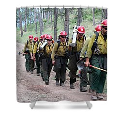 Shower Curtain featuring the photograph Fire Crew Walks To Their Assignment On Myrtle Fire by Bill Gabbert