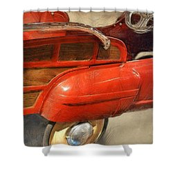 Fire Engine Pedal Car Shower Curtain by Michelle Calkins